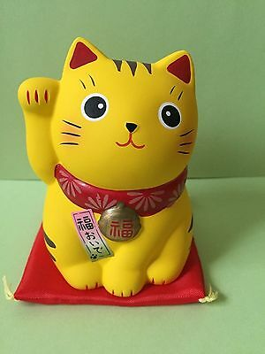 ManekiNeko Ceramic Lucky Cat Fortune come,and come Yellow Lucky with Money JAPAN