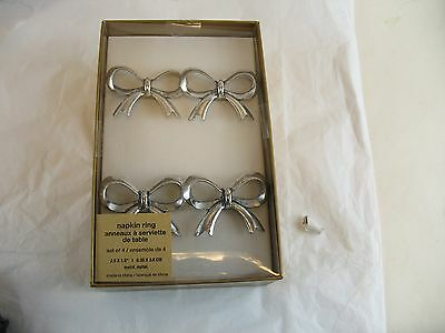 Bow shaped napkin Ring set of Four in box new