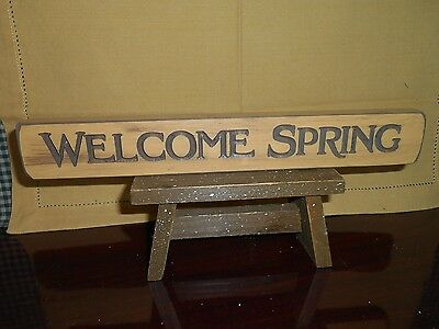 "Welcome Spring   Engraved Wood Block Sign  Distressed Pastel Yellow 12"" L"