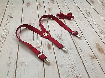 Children's Burgundy braces and bow tie. Handmade (Baby, Toddler And Boys)
