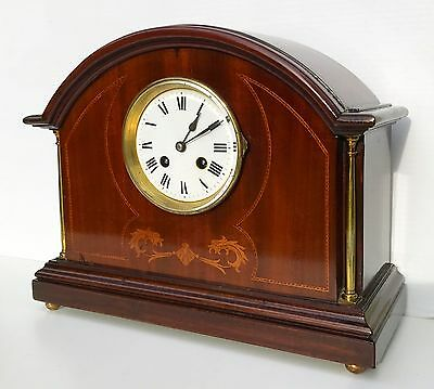 Mahogany Inlaid French Striking Mantle Clock By The Top Maker Japy Frerers