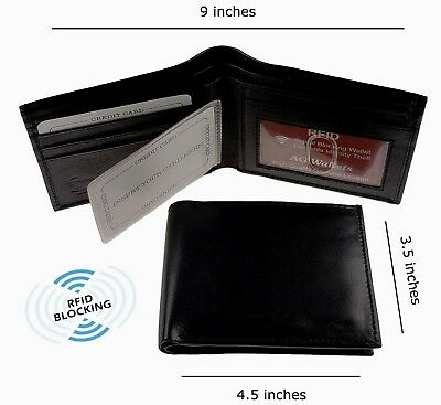 Mens Bifold Genuine Leather RFID Blocking Black Credit Card ID Security Wallet
