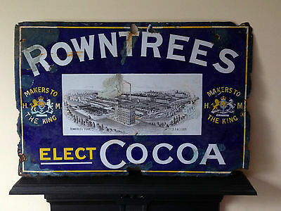Old Vintage ROWNTREE'S ELECT COCOA Factory No 3 York Enamel Sign