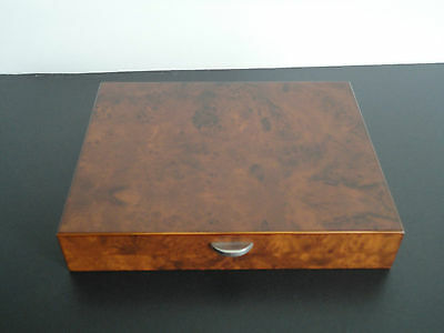 DAL NEGRO BURR WOOD CIGAR BOX with HUMIDOR and TEMPERATURE GAUGE