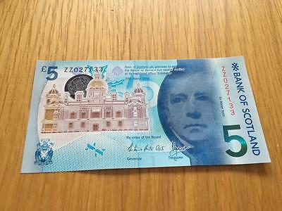 Bank Of Scotland £5 Polymer Note. Zz027133 Immaculate Condition