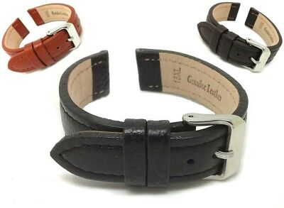 Men's Genuine Leather Watch Strap Band Stainless Steel Buckle Black,Tan,Brown