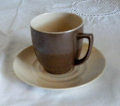 Vintage Branksome Coffee Cup and Saucer Ernest Baggaley, Twin Tone Glaze