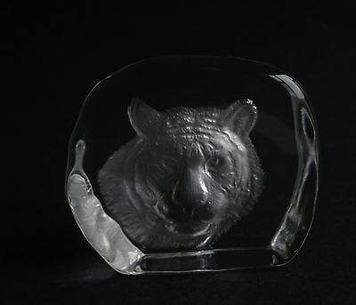 Tiger Head Etched Glass  Paperweight Not Signed Excellent