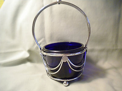 1950's Cobalt Blue Sauce Bowl With Chrome Holder, Art Deco Styling