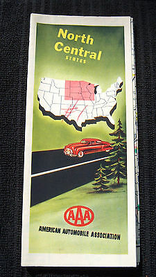 Vintage North Central United States AAA Travel Map