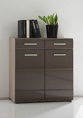 kommode trend hochglanz braun sideboard highboard schubladen schrank anrichte eur 94 95. Black Bedroom Furniture Sets. Home Design Ideas