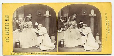 Stereoview Genre Ghost THE HAUNTED MAN London Stereoscopic Company 1860er