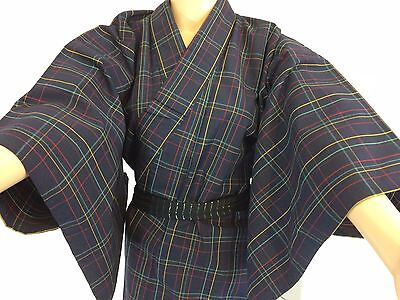 Authentic Japanese blue wool kimono for women, imported from Japan (J1020)