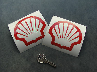 2x stickers SHELL 90mm Rouge auto car sport decals pegatinas aufkleber A194-027