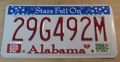 "2006 Alabama ""stars Fell On"" License Plate Expired 29 G49 2M"