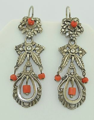 Victorian Sterling Silver & Coral Dangle Earrings