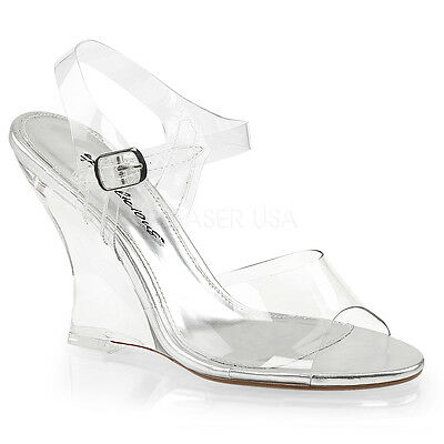 b903bf7830e FABULICIOUS LOVELY-408 WOMENS Clear Ankle Strap Wedge Sandal Open ...