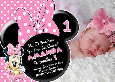 Baby Minnie Mouse 1st Birthday Invitations Print Your Own Party Supplies