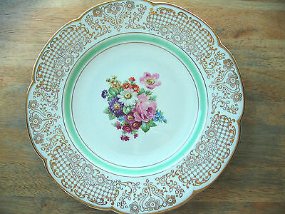 "Vintage Wood &  Sons Plate 10 3/4"" Pattern 9413 Floral Center Gold Filigree Rim"