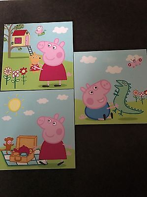 Children Kids Peppa Pig Canvas Wall Hangings Pictures Wall Art Nursery Decor