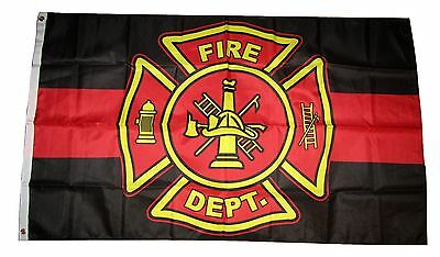 3x5 First Responder Fire Dept. Logo Department Thin Red Line Flag 3'x5' grommets