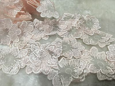 20pcs Light Baby Pink Embroidery Lace Organza Rose Flower Appliques Trim DIY