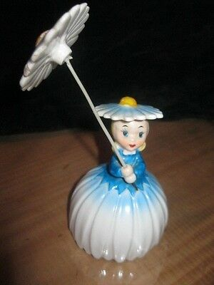 Napco - Flower Of The Month - Girl With Parasol Figurine/bell - Japan