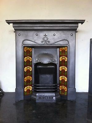Original Restored Antique Cast Iron Art Nouveau Fireplace Tiled Insert (TA217)