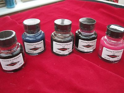 Diamine -  Calligraphy ink collection of 5 coloured inks - New - Special deal