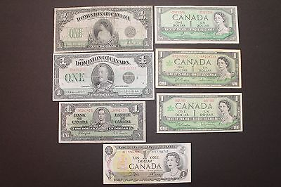 1917, 1923,1937, 1954, 1967, 1973 Set of $1 Bank of Canada