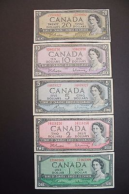 Set of Five 1954 $1, $2, $5, $10, $20 Bank of Canada Notes