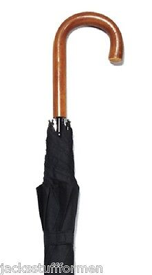 Harvy Classics Genuine Malacca Wood Crook Handle Unisex Black Umbrella
