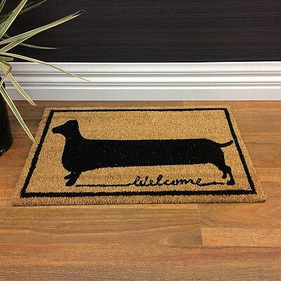 DOORMAT Dachshund / Welcome Coir Door Mat Rubber Backing  Dog NEW