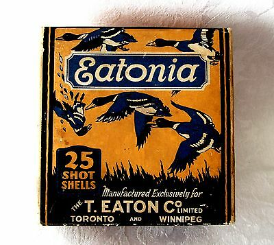 RARE 1st Issue EATONIA 2 Part ShotShell Box by Dominion Cartridge, DuPont Powder