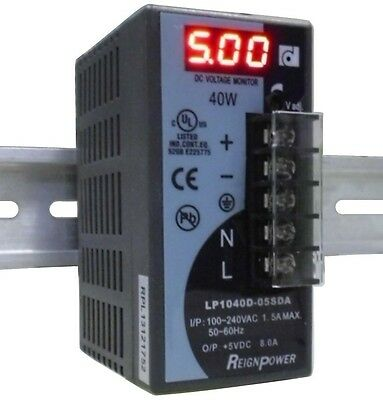 REIGNPOWER LP1040D-05SDA 5V 8A Din Rail Power Supply Voltage Monitor Display