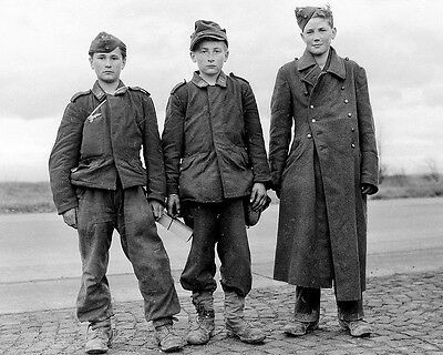 WW2 Photo WWII Trio of Very Young German Soldiers World War Two Germany / 2266