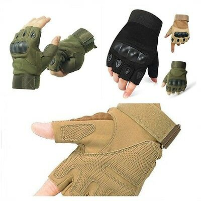 Military Tactical Half Finger Gloves Fingerless Outdoor Motorcycle Hard Knuckle