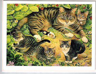 Lesley Anne Ivory Cat Gemma Kittens Wild Strawberries Blank Greeting Note Card