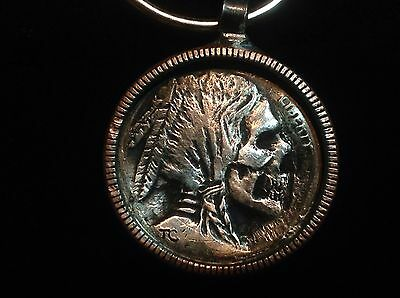 Authentic Hobo Skull Indian/Buffalo Nickel In A US Quarter Keychain Pendant