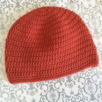 Copper orange CHILDRENS CROCHET BEANIE 3 - 5 yrs -  Made in WA