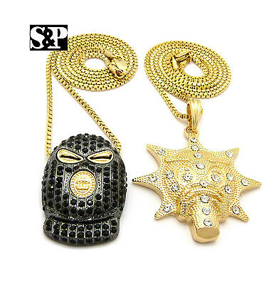 "New Iced Out GLORY BOYZ Pendant 2mm//24/"" Box Chain Hip Hop Necklace MSP401BX"