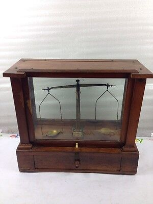 Vintage Henry Troemner Weights and Measures Original Scale Complete Glass Case!!