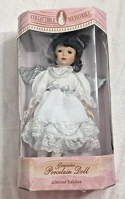 """Collectible Memories Porcelain 16"""" Angel Doll Crystal Brunette White Silver"""