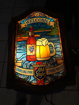 Vintage OLD STYLE WELCOME STAINED GLASS WINDOW LIGHTED BEER SIGN 1980 ~FAST S/H~