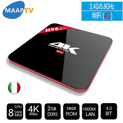 Amlogic S912 H96 Pro Android 6.0 Tv Box 2GB 16GB 2.4G/5.8GHz WiFi BT4.0 H.265 4K