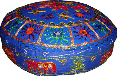 Round Floor Seat Ottoman Pouf Stool Pillow Cover Ethnic Indian Decoration Art