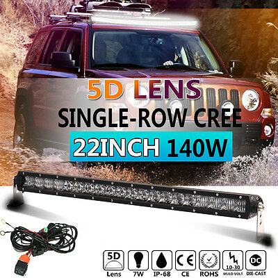 5D Single Row 22inch 140W CREE LED Work Light Bar Flood Spot Combo Slim Offroad