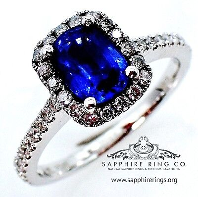 Certified 18kt White Gold 1.42 tcw Blue Cushion Natural Sapphire & Diamond Ring