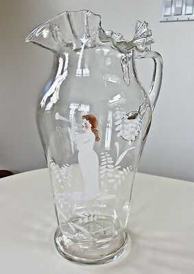 Large Antique Victorian Blown Glass Ruffle Pitcher w Pontil - Mary Gregory Style