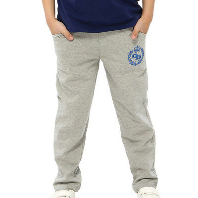 Children Boys Cotton Sports Sweat Pants Solid Casual Trouses